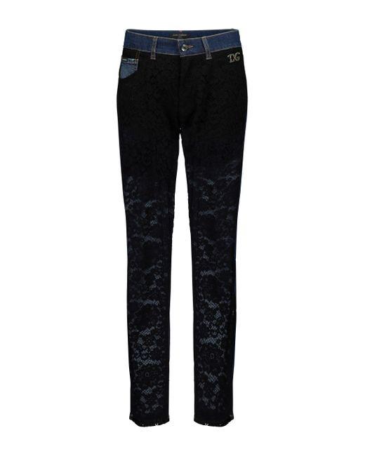 Jeans slim con pizzo di Dolce & Gabbana in Black