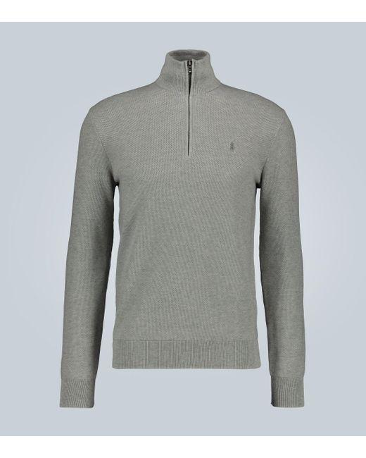 Polo Ralph Lauren Gray Zipped Cotton Sweater