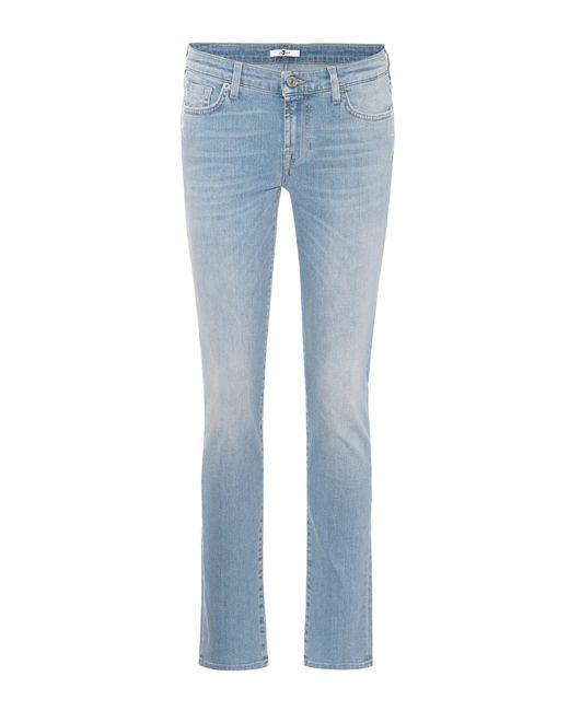 7 For All Mankind - Blue Pyper Mid-rise Skinny Jeans - Lyst