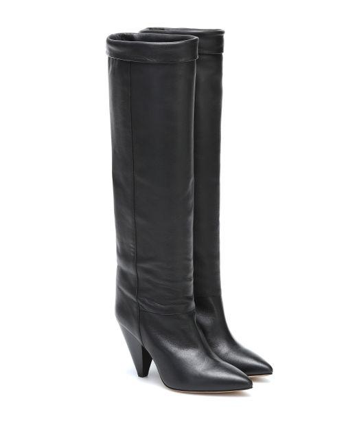 Isabel Marant Black Loens Leather Knee-high Boots