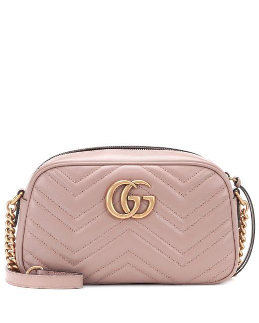 Borsa GG Marmont Small in pelle matelassé di Gucci in Pink