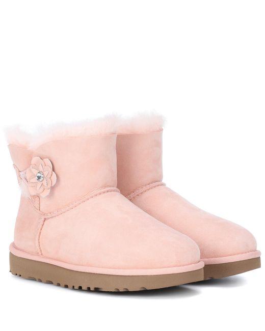 Women's Pink Mini Bailey Petal Suede Boots