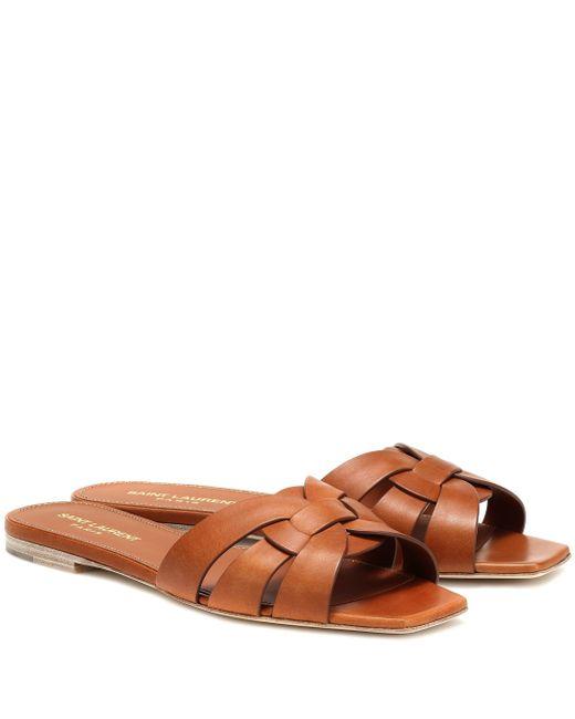 Saint Laurent Brown Nu Pieds 05 Leather Sandals