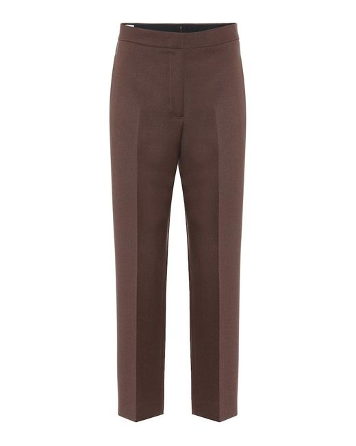 Pantaloni a vita alta in lana di Jil Sander in Brown