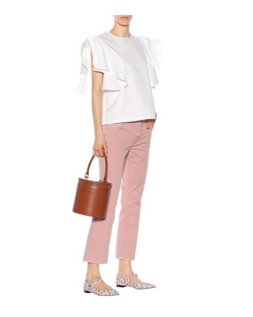 J Brand Pink Cropped Jeans Selena