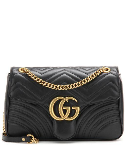 Gucci | Black Gg Marmont Medium Matelassé Leather Shoulder Bag | Lyst