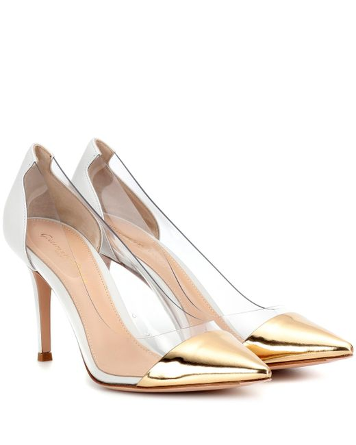 Gianvito Rossi - White Plexi Transparent And Leather Pumps - Lyst