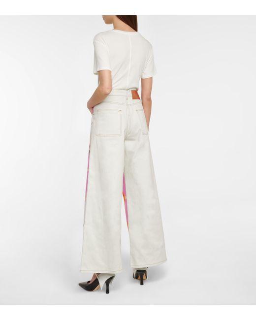 Loewe Pink Printed Wide-leg Jeans