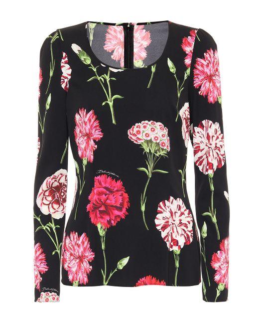 Dolce & Gabbana Black Floral Stretch Silk Top