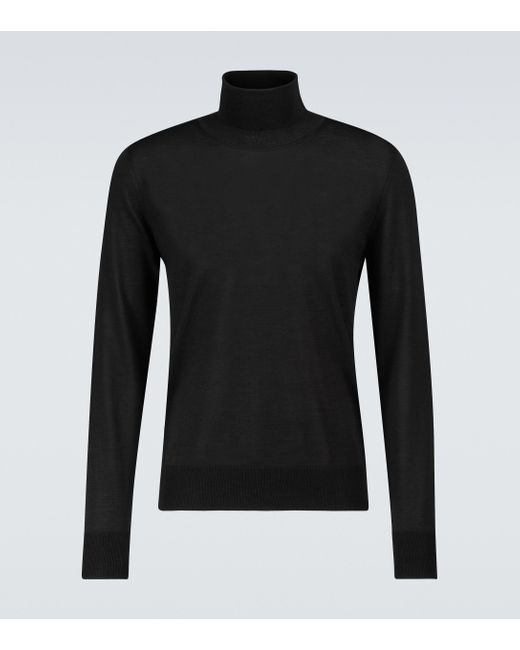 The Row Black Emile Wool And Silk Turtleneck for men