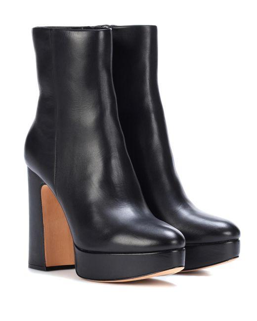 alexandre birman leather plateau ankle boots in black lyst. Black Bedroom Furniture Sets. Home Design Ideas