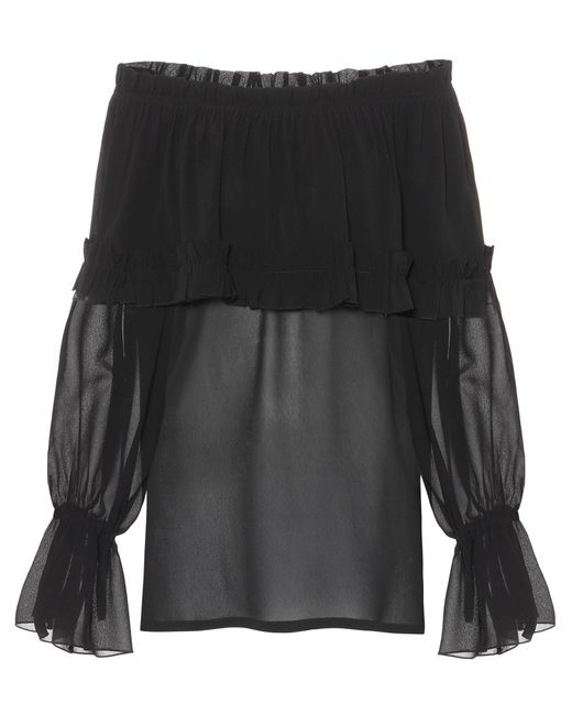 Saint Laurent Black Silk Georgette Blouse