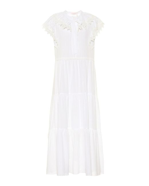 See By Chloé White Cotton-voile Midi Dress