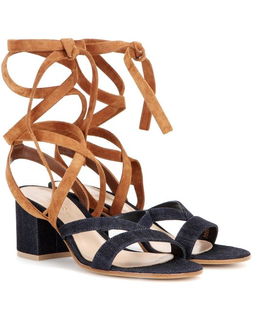 Gianvito Rossi | Blue Janis Low Denim And Suede Sandals | Lyst