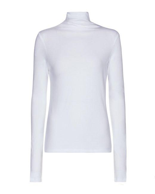 Vince White Essentials Cotton Turtleneck Top