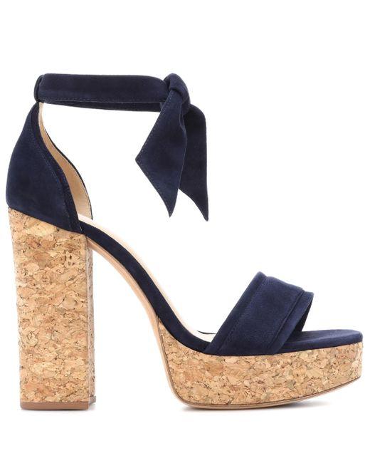 64fb65935c2 Women's Blue Celine Suede Plateau Sandals