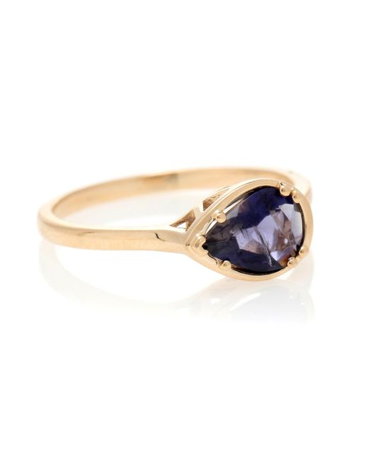 Anna Sheffield Metallic Petite Pear Luna 14kt Gold And Iolite Ring
