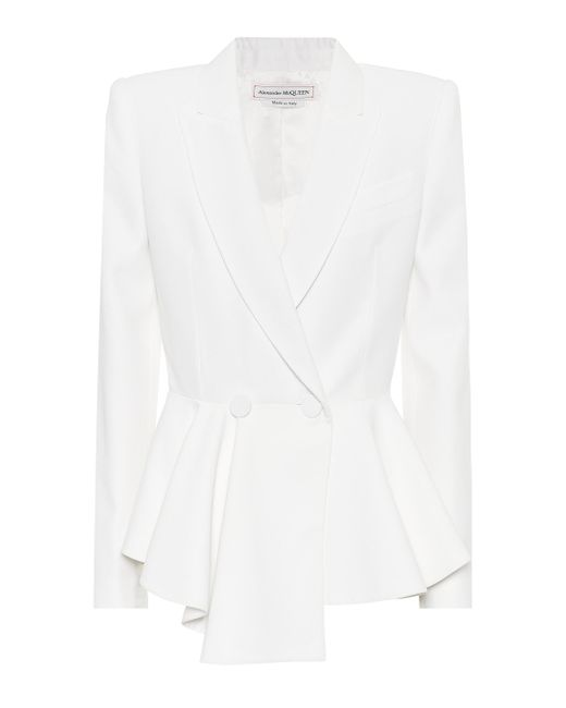 Alexander McQueen White Peplum Jacket And Pant Suit