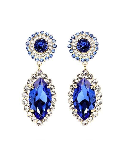 Dolce & Gabbana - Blue Crystal-embellished Clip-on Earrings - Lyst
