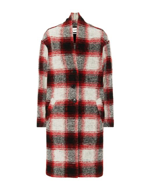 Étoile Isabel Marant Red Gabriel Checked Wool-blend Coat