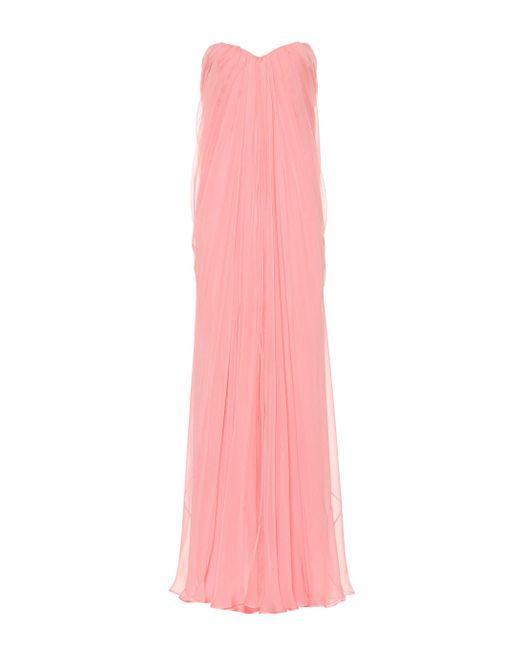 Alexander McQueen Pink Strapless Silk Organza Gown