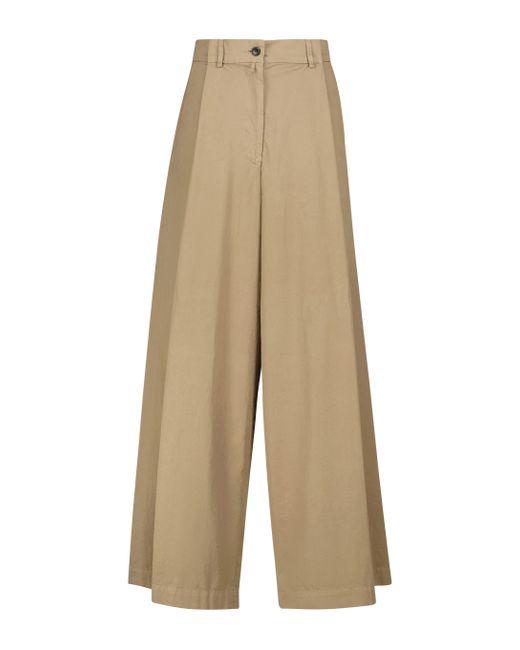 Dries Van Noten Natural High-rise Wide Cotton-poplin Pants