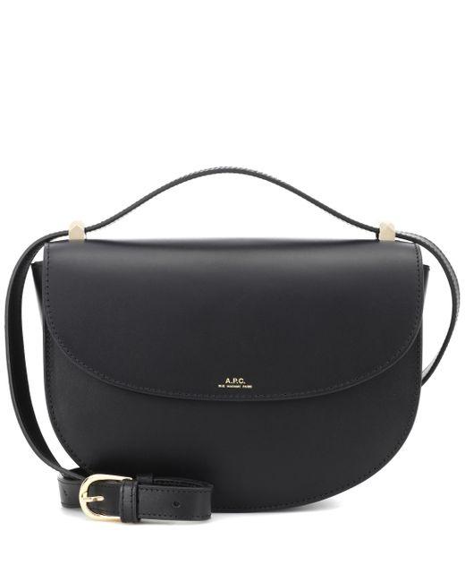 A.P.C. Black Genève Leather Shoulder Bag