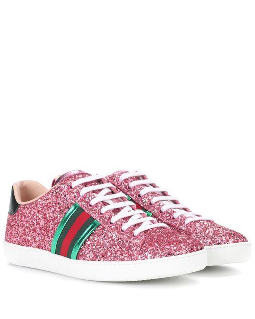 Gucci Ace Glitter Trainers in Pink | Lyst