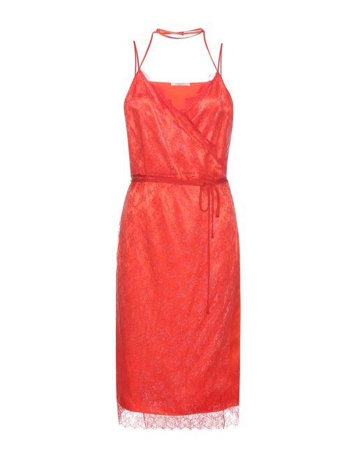 Nina Ricci - Red Lace And Satin Dress - Lyst