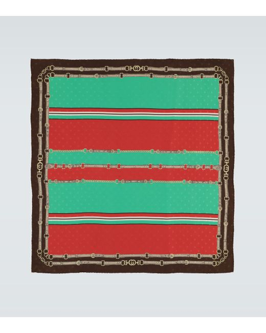 Gucci Green Exclusive To Mytheresa - Silk Jacquard Scarf for men