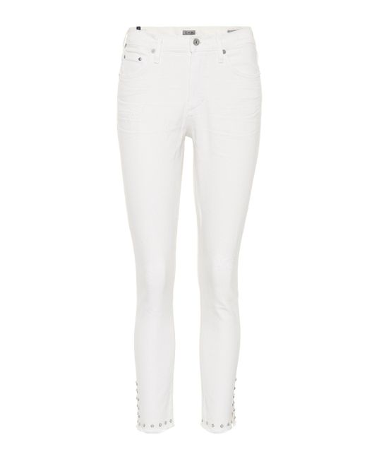 Citizens of Humanity White Verzierte Cropped Jeans