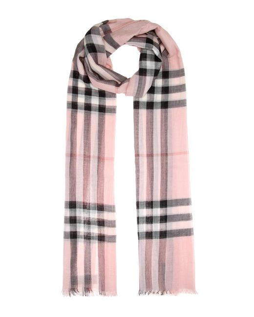 Burberry - Pink Giant Check Wool And Silk Scarf - Lyst