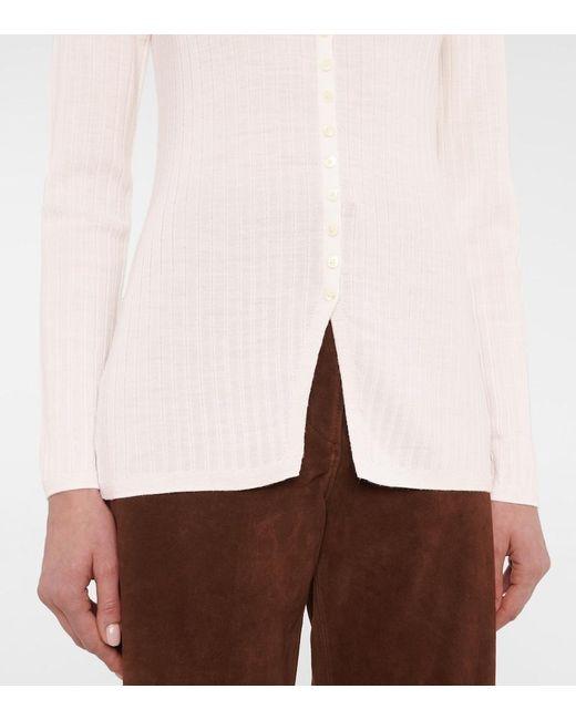 Cardigan in lana merino a costine di Totême  in Multicolor