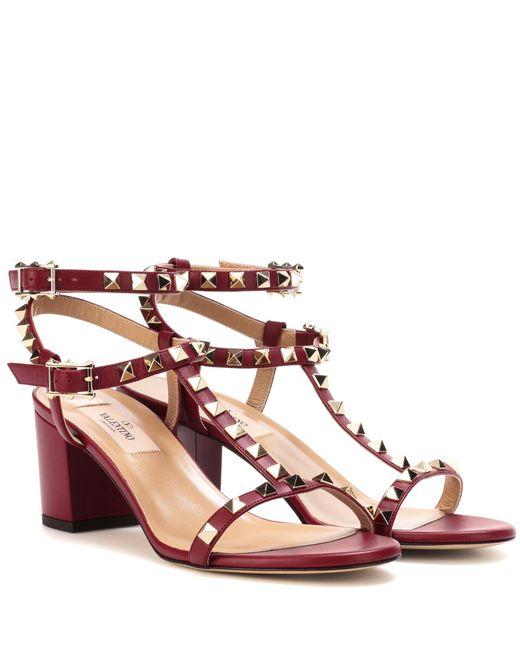 Valentino - Red Garavani Rockstud Leather Sandals - Lyst