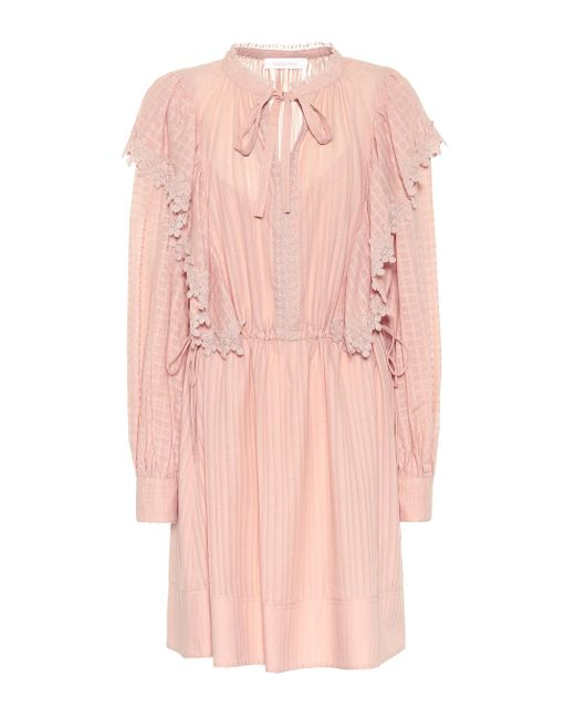See By Chloé Pink Cotton-voile Minidress