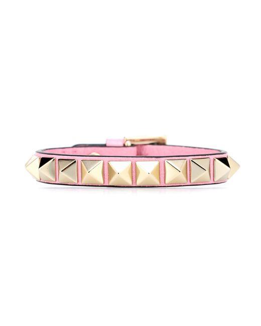 Valentino - Pink Rockstud Leather Bracelet - Lyst
