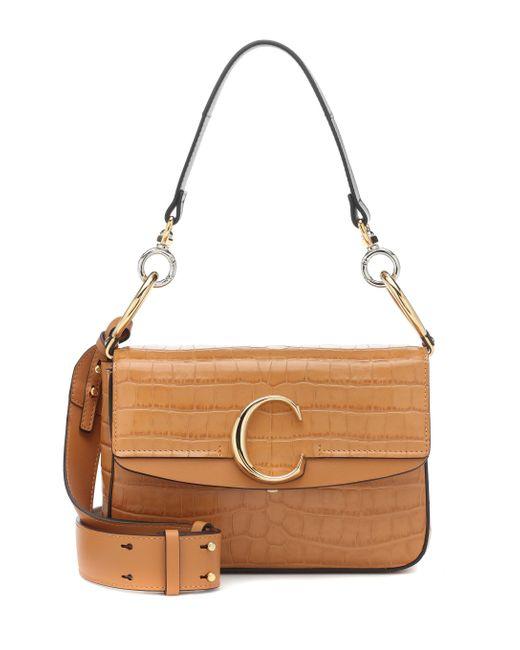 Chloé Brown C Medium Shoulder Bag