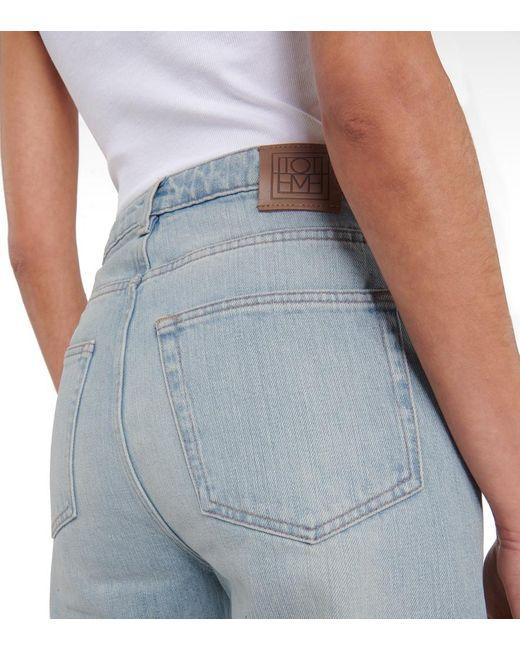Esclusiva Mytheresa - Jeans Barrel a vita alta cropped di Totême  in Blue