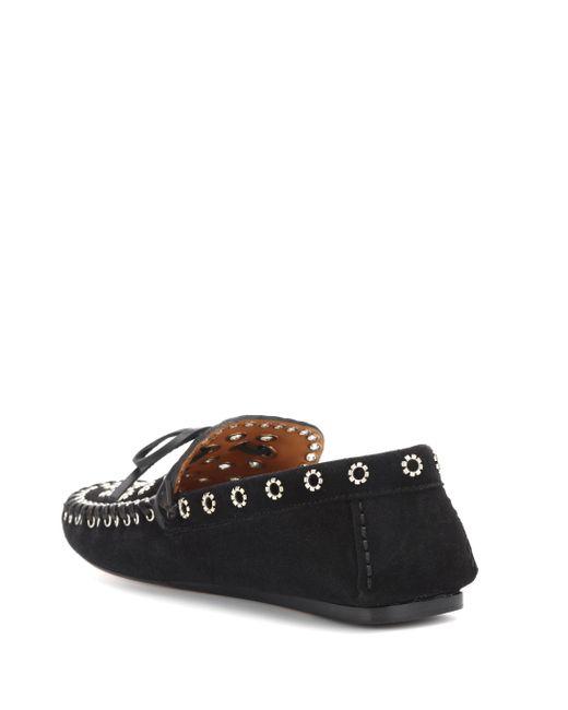 588da6a222d ... Isabel Marant - Black Foccia Embellished Suede Loafers - Lyst ...