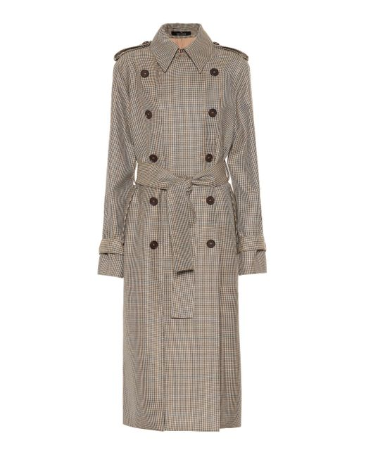 ROKH Brown Houndstooth Wool Trench Coat