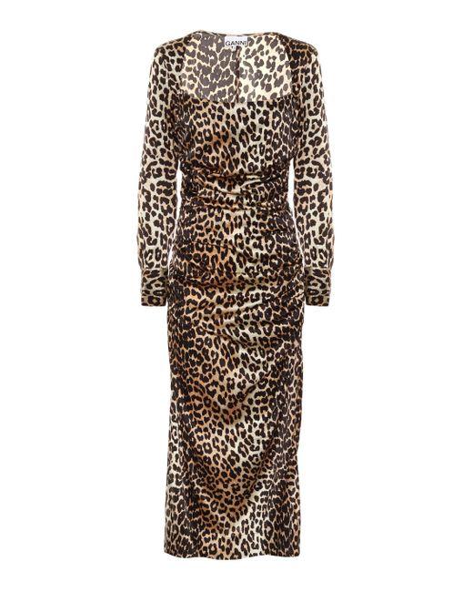 Ganni Brown Leopard-print Stretch Silk-satin Midi Dress