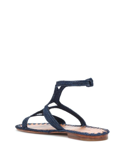 Carrie Forbes Women's Blue Raffia Sandals