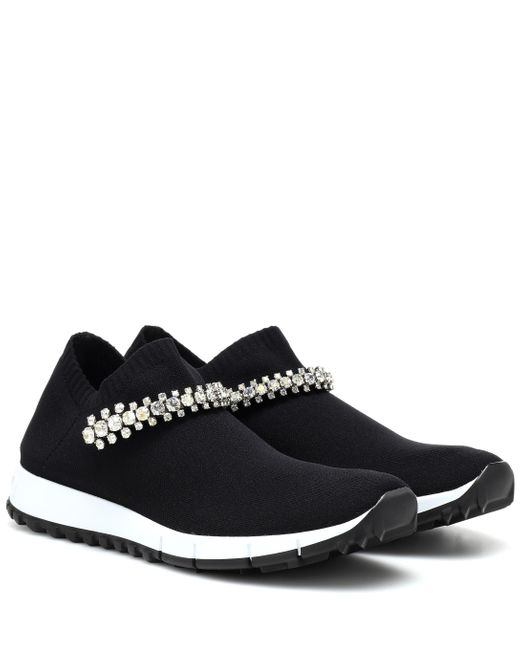 Jimmy Choo Black Verona Embellished Knit Sneakers