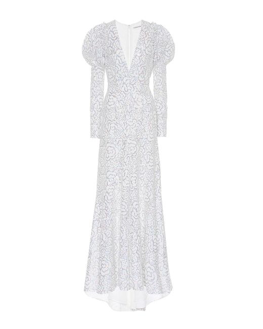 Alessandra Rich White Sequinned Gown