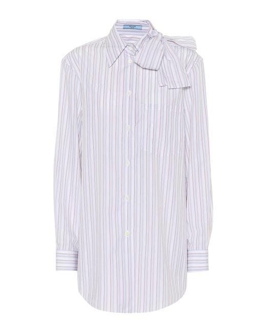 Prada White Striped Cotton Shirt