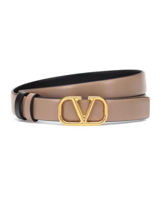 Valentino Natural Vlogo Leather Belt