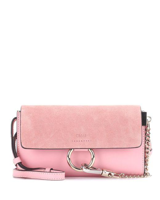 Chloé   Pink Faye Mini Leather Wallet Bag   Lyst