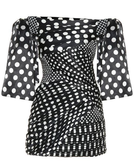 Vestido corto de satén de lunares Richard Quinn de color Black