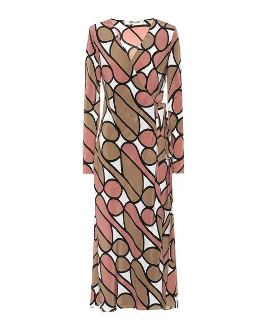 Robe midi portefeuille Tilly imprimée en soie Diane von Furstenberg en coloris Multicolor