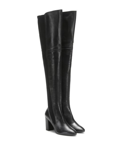 Stuart Weitzman Black Fleur Leather Over-the-knee Boots